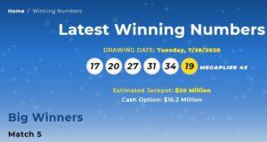 Mega Millions July 28,2020 winning numbers